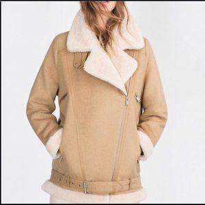 Zara Asymmetric Moto Biker Shearling Jacket Coat